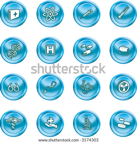 Medical and scientific icons. A set of icons related to medicine and science - stock vector