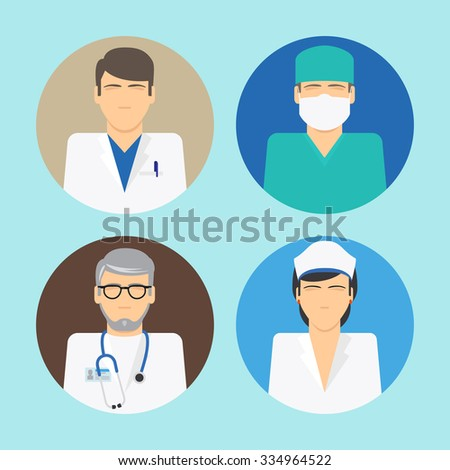 Medical avatars. Doctor and nurse vector icons - stock vector