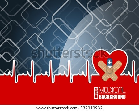 Medical background design with ekg diagram heart shape and blue pill - stock vector