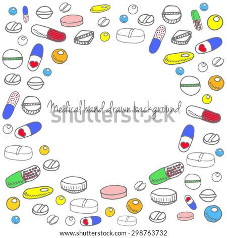 Medical background of different shapes of pills. Capsules and pills collection. Medical pills and capsules pattern. Colorful pharmacy background. Vector illustration - stock vector