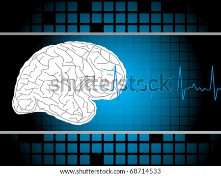 medical background with brain, vector illustration - stock vector