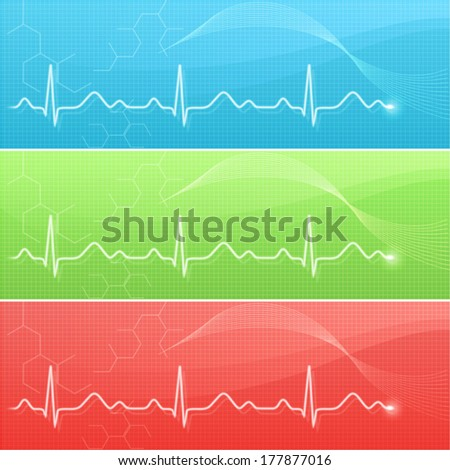 Medical background with cardiogram line in three colors - stock vector