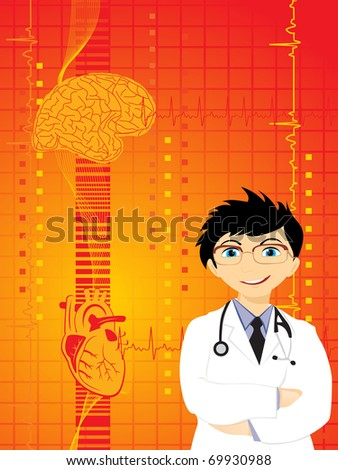 medical background with doctor, heart and human brain - stock vector