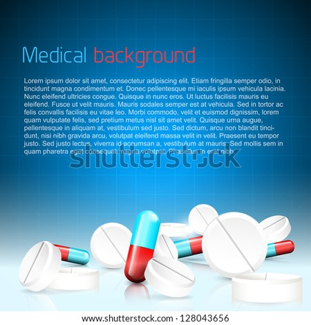 Medical background with pills and copyspace - stock vector