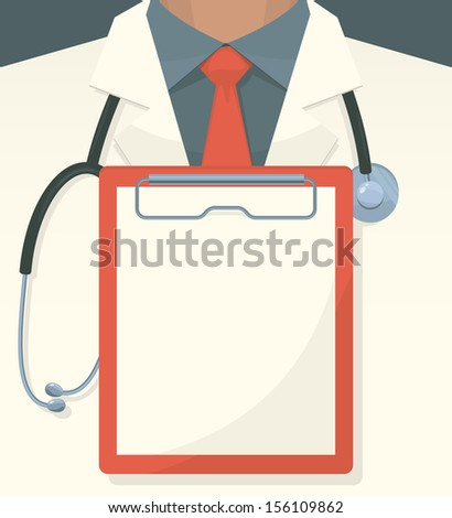 Medical background with record board and stethoscope. Vector illustration.