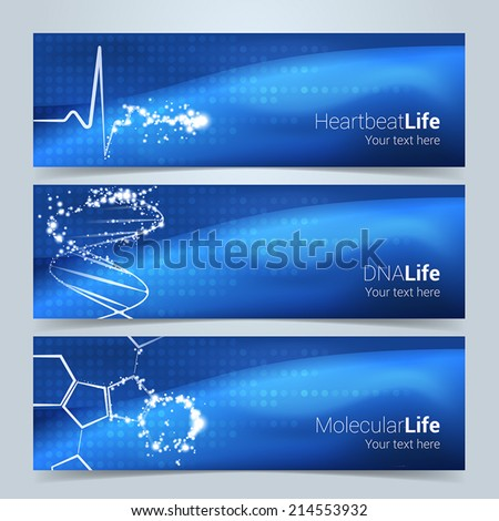 Medical banners or website header set. Heartbeat, DNA string and molecular structures with star glow effect. Text and background on separate layers. Fully scalable vector illustration. - stock vector