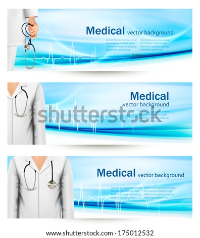 Medical banners with a doctor's lab white coat and stethoscope. Vector illustration  - stock vector