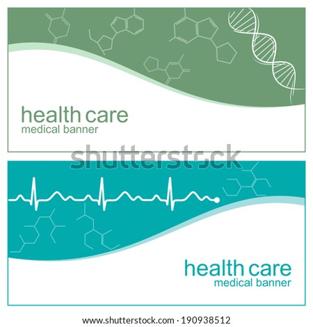 Medical banners with DNA, cardiogram line and molecules structure - stock vector