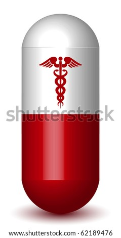 Medical Caduceus Sign Capsule Pill - stock vector