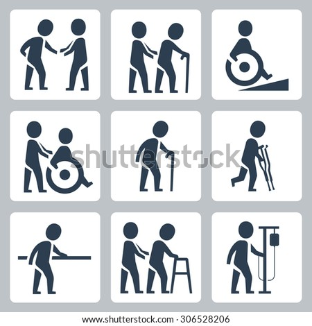 Medical care, elder and disabled people vector icon set - stock vector