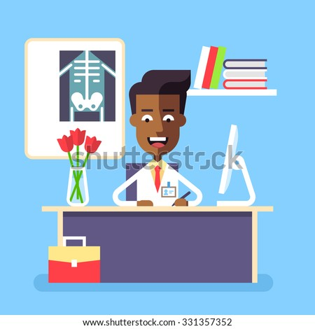 Medical concept - attractive african american doctor sitting at the table with computer in his office and writing prescription. Stock vector illustration in flat design. - stock vector
