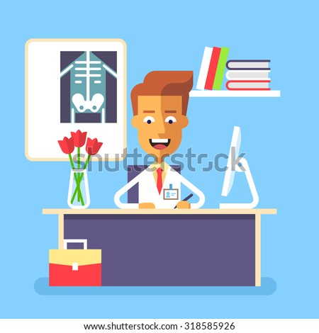 Medical concept - attractive young doctor sitting at the table with computer in his office and writing prescription. Stock vector illustration in flat design. - stock vector