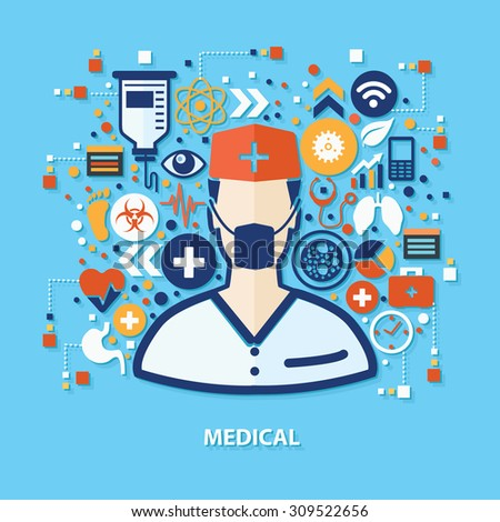 Medical concept design on blue background,clean vector