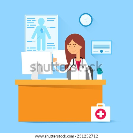 Medical concept - doctor sitting at the table in the office. Vector illustration, flat style - stock vector