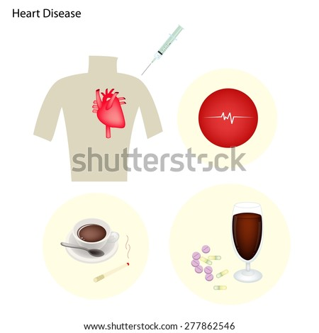 Medical Concept, Heart Disease Prevention by Quitting Smoking, Lowering Cholesterol, Controlling High Blood Pressure, Maintaining A Healthy Weight and Exercising.