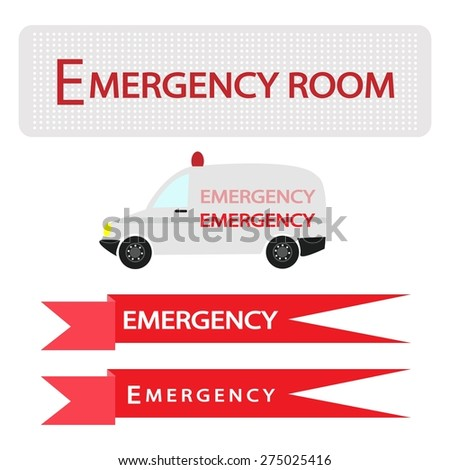 Medical Concept, Illustration of Ambulance with Emergency Label Isolated on White Background.  - stock vector