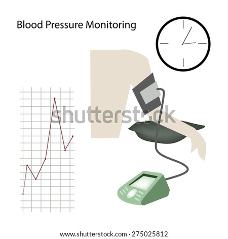 Medical Concept, Illustration of Doctor Using Blood Pressure or Sphygmomanometer for Measuring Arterial Pressure.  - stock vector