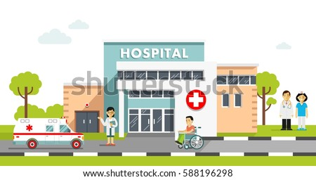 Medical concept hospital building doctor flat stock vector medical concept with hospital building and doctor in flat style panoramic background with hospital building malvernweather Images