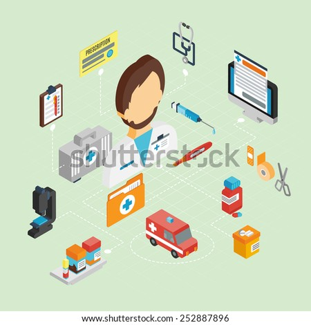 Medical concept with isometric icons set and doctor avatar 3d vector illustration - stock vector