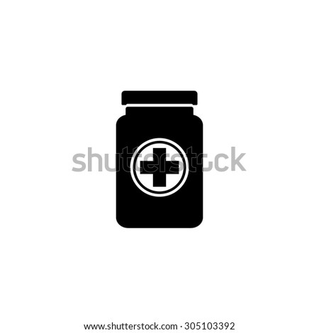 Medical container. Black simple vector icon - stock vector