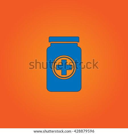 Medical container. Blue flat icon with black stroke on orange background. Collection concept vector pictogram for infographic project and logo - stock vector