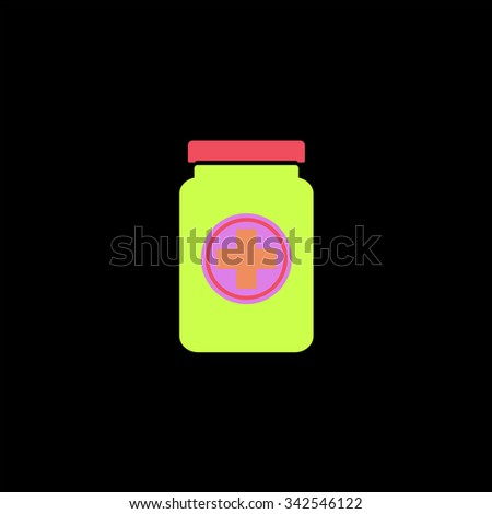 Medical container. Color vector icon on black background - stock vector