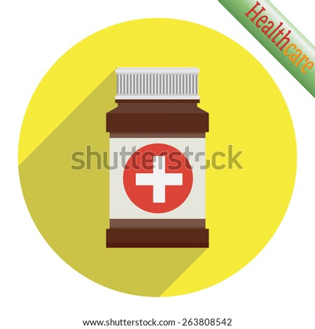 Medical container on yellow background. Vector illustration - stock vector