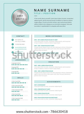 Medical Cv Resume Template Example Design Stock Vector