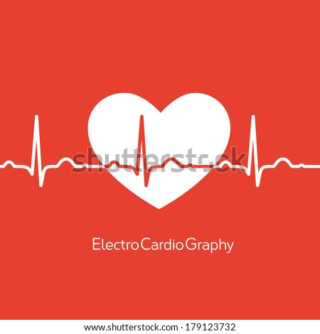 Medical design - white heart with cardiogram on red background - stock vector