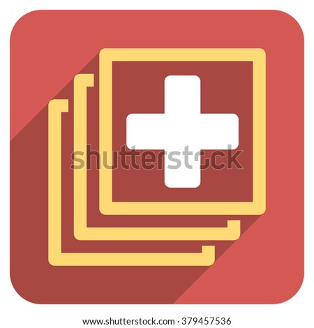 Medical Docs long shadow vector icon. Style is a light flat symbol on a red rounded square button. - stock vector