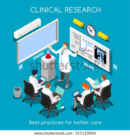 Medical Doctor Clinic Research Training. Hospital Room Medical Doctor Researcher Clinical Trial Study. Medical Training. Hospital Doctor Research Meeting. 3D Flat Isometric People Vector Illustration. - stock vector