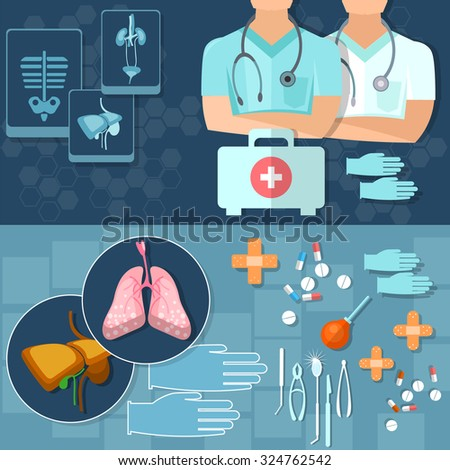 Medical doctors health professionals medical research x-rays medicine first aid kit vector banners - stock vector