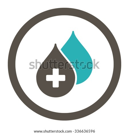 Medical Drops vector icon. Style is bicolor flat rounded symbol, grey and cyan colors, rounded angles, white background. - stock vector