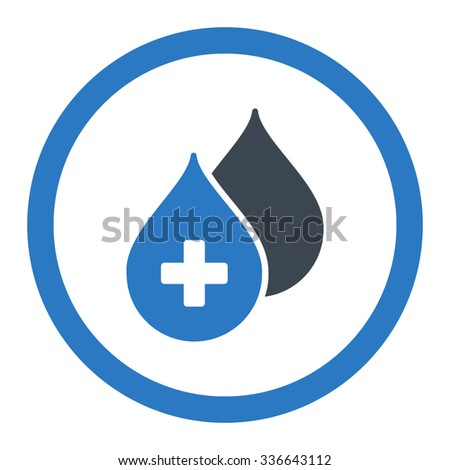 Medical Drops vector icon. Style is bicolor flat rounded symbol, smooth blue colors, rounded angles, white background. - stock vector