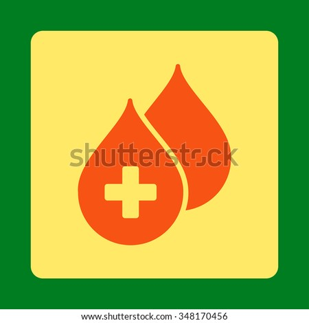 Medical Drops vector icon. Style is flat rounded square button, orange and yellow colors, green background. - stock vector