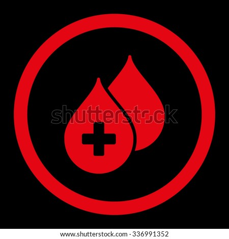 Medical Drops vector icon. Style is flat rounded symbol, red color, rounded angles, black background. - stock vector