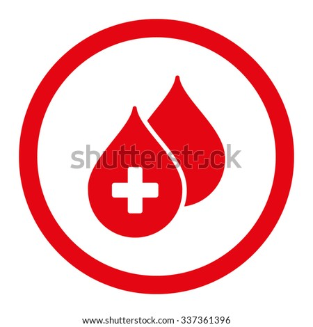 Medical Drops vector icon. Style is flat rounded symbol, red color, rounded angles, white background. - stock vector
