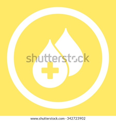 Medical Drops vector icon. Style is flat rounded symbol, white color, rounded angles, yellow background. - stock vector