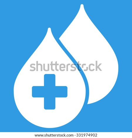 Medical Drops vector icon. Style is flat symbol, white color, rounded angles, blue background. - stock vector