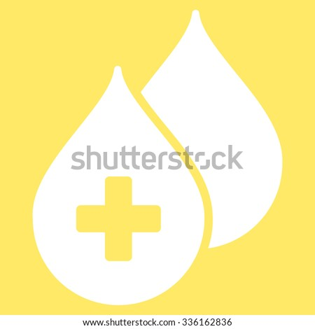 Medical Drops vector icon. Style is flat symbol, white color, rounded angles, yellow background. - stock vector