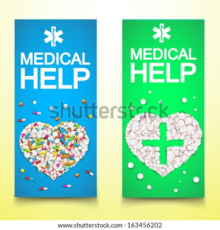 medical drugs. banners set. Vector Illustration, eps10, contains transparencies. - stock vector