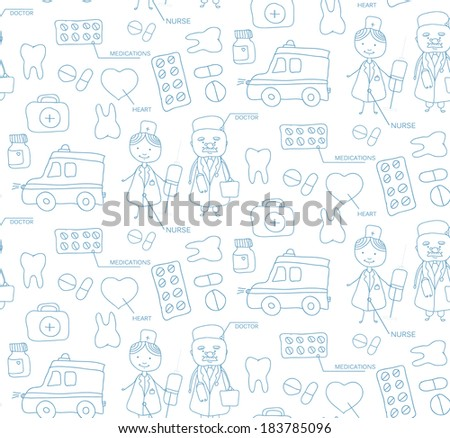 medical elements hand drawn seamless pattern - stock vector