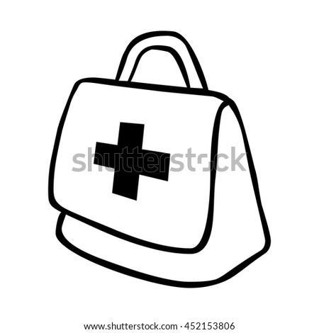 Medical emergency first aids kit or suitcase line icon, vector illustration graphic.