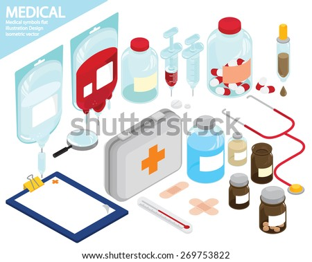 Medical equipment icons set. isometric object illustration. - stock vector