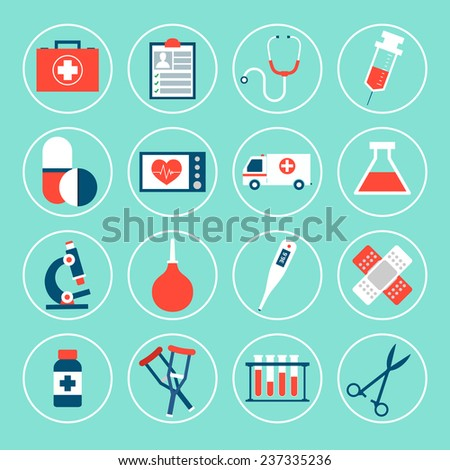 Medical equipment icons set with first aid kit phonendoscope syringe isolated vector illustration - stock vector