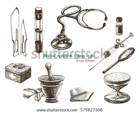 Medical Equipment Vintage Style Stock Vector 579827308