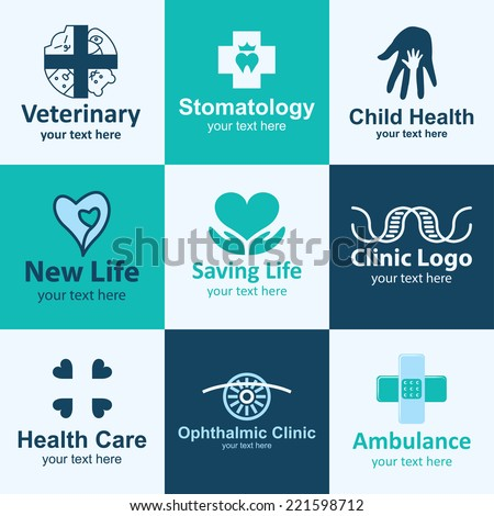medical flat icons set logo ideas for brand - stock vector