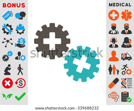 Medical Gears vector icon with bonus. Style is bicolor flat symbol, grey and cyan colors, rounded angles, white background.