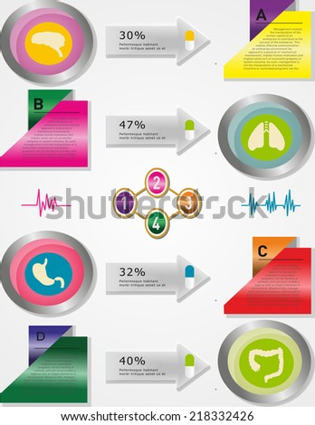 Medical, health and healthcare icons and data elements, info graphic heart, brain , kidney and other human organs symbols
