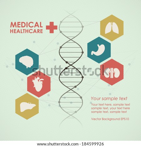 Medical health care background. Icons with human organs. Modern computer interface. Vintage design - stock vector